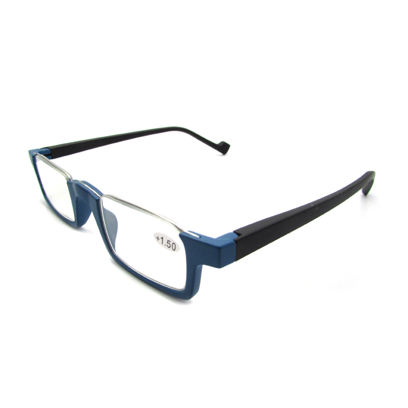 Mens half frame reading glasses spring hinge readers for men