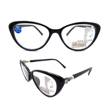 Progressive multifocus TR90 cat eye reading glasses with anti blue light