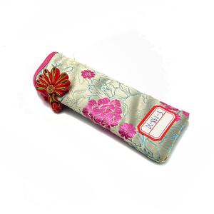 Chinese style glasses case for reading glass with national flowers made of cloth