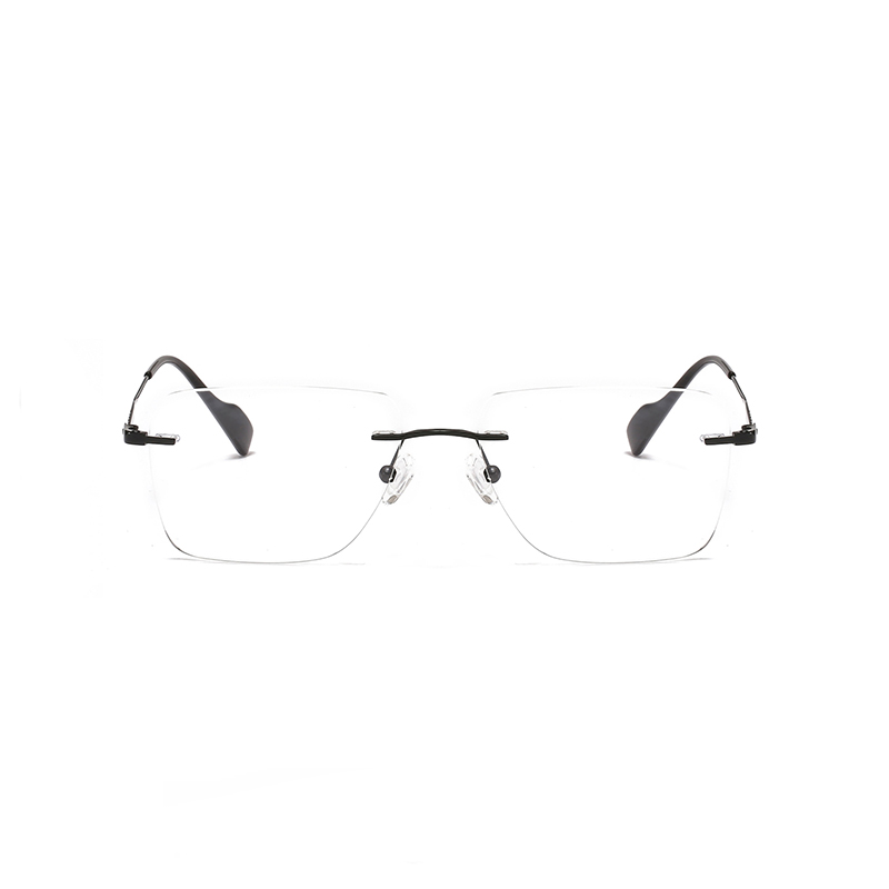 2 In 1 Men Magnet Clip on Glasses Rimless Optical Prescription Eyewear Frames Eyeglasses