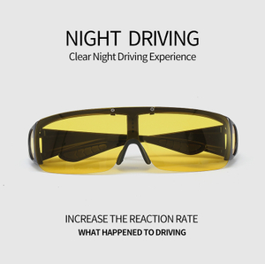 Night Driving Eyewear Classic Flat Top Shield Sunglasses Oversized Mirror One Piece Sport Glasses Men Women