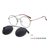 Round Vintage Magnetic Sunglasses Clip on for Men Women Metal Frame