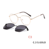 2 in1 Polygon Glasses Frame Magnetic Sunglass Clip On Eyeglasses Prescription Sunglasses Women