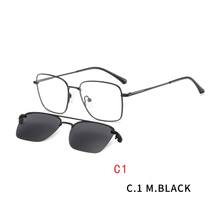 Square Magnetic Clip on Sunglasses for Men Women Metal Frame