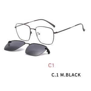 2 in1 Optical Spectacle Frame Men Women Clip On Sunglasses Polarized Lenses Magnetic Sun lens Prescription Eyeglasses