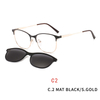 2 In1 Square Magnet Clip On Sunglasses Men Optical Prescription Eyeglasses