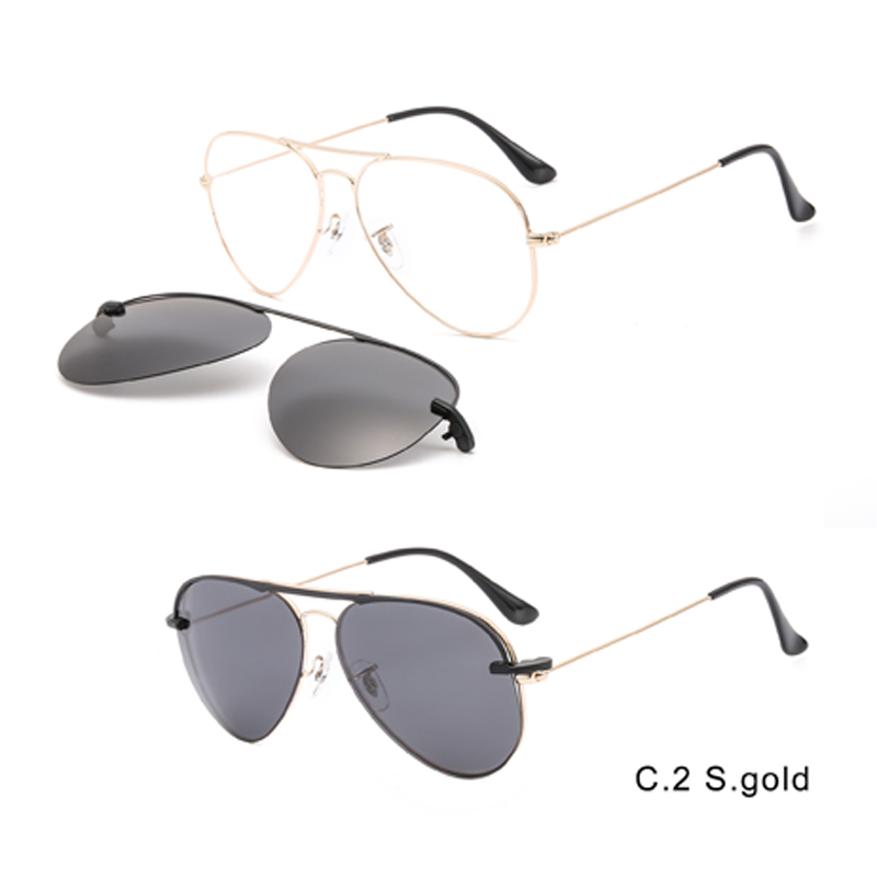 2 In1 Aviator Magnet Clip On Glasses Men Frame Prescription Magnet Clip On Sunglasses Male Myopia Optical Eyeglasses Frame