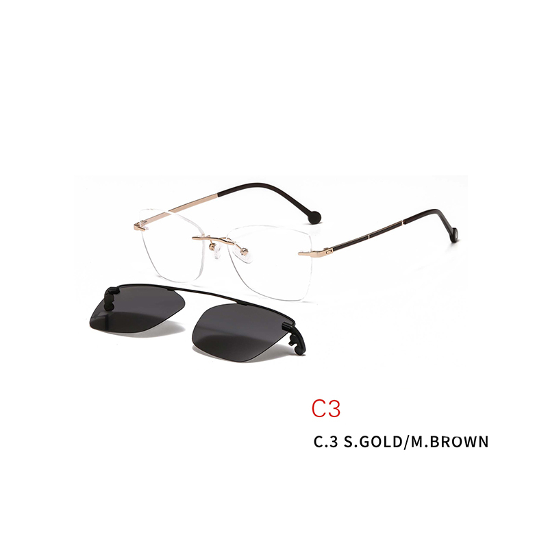 2 In 1 Rimless Optical Frame Men Women Optical Magnetic Sunglasses Clip Magnet Clip on Sunglasses