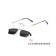 2 In 1 Magnet Clip on Sunglasses Rimless Optical Frame Men Driving Detachable Lens Style Sun Glasses
