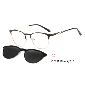 2 In1 Women Sun Glasses Eyeglasses Frame With Magnet Clip On Sunglasses Female